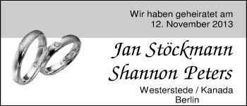 Hochzeitsanzeige von Jan Stöckmann von Nordwest-Zeitung
