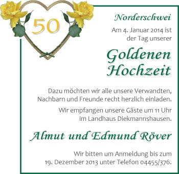 Hochzeitsanzeige von Almut Röver von Nordwest-Zeitung