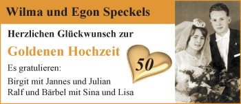 Hochzeitsanzeige von Wilma Speckels von Nordwest-Zeitung