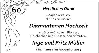Hochzeitsanzeige von Inge Müller von Nordwest-Zeitung