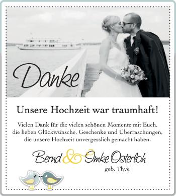 Hochzeitsanzeige von Bernd Osterloh von Nordwest-Zeitung