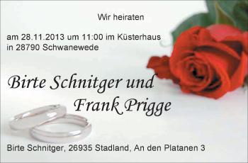 Hochzeitsanzeige von Birte Schnitgeer von Nordwest-Zeitung