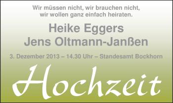 Hochzeitsanzeige von Heike Eggers von Nordwest-Zeitung