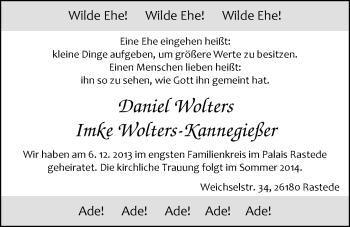 Hochzeitsanzeige von Daniel Wolters von Nordwest-Zeitung