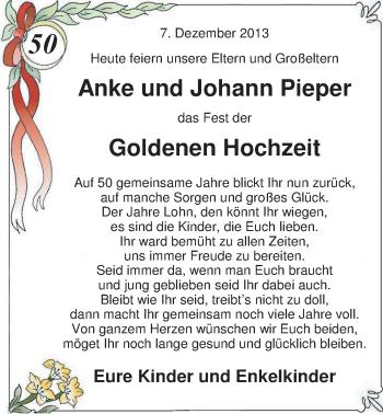 Hochzeitsanzeige von Anke Pieper von Nordwest-Zeitung