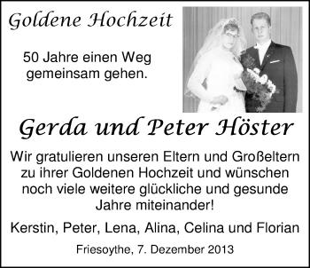 Hochzeitsanzeige von Gerda Höster von Nordwest-Zeitung