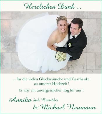 Hochzeitsanzeige von Annika Neumann von Nordwest-Zeitung