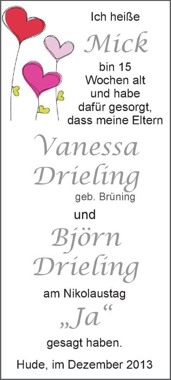 Hochzeitsanzeige von Vanessa Drieling von Nordwest-Zeitung