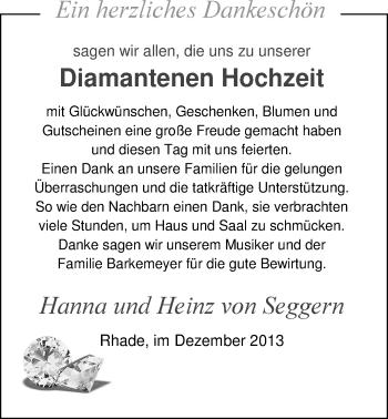 Hochzeitsanzeige von Hanna von Seggern von Nordwest-Zeitung