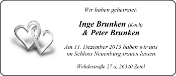 Hochzeitsanzeige von Inge Brunken von Nordwest-Zeitung
