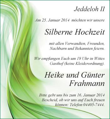 Hochzeitsanzeige von Heike Frahmann von Nordwest-Zeitung