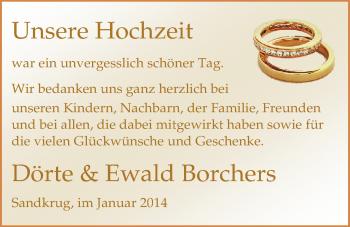 Hochzeitsanzeige von Dörte Schlizio von Nordwest-Zeitung