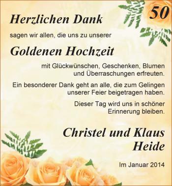 Hochzeitsanzeige von Christel Heide von Nordwest-Zeitung
