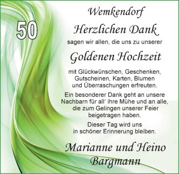 Hochzeitsanzeige von Marianne Bargmann von Nordwest-Zeitung