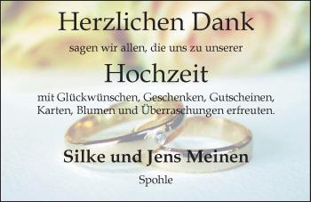 Hochzeitsanzeige von Silke Meinen von Nordwest-Zeitung
