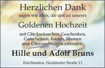 Hochzeitsanzeige von Hille Bruns von Nordwest-Zeitung