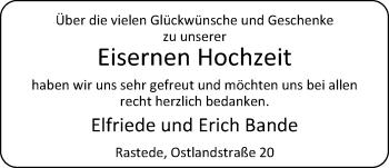 Hochzeitsanzeige von Elfriede Bande von Nordwest-Zeitung