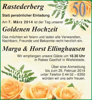 Hochzeitsanzeige von Marga Ellinghaus von Nordwest-Zeitung