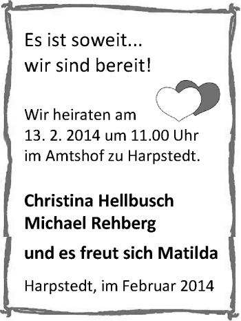 Hochzeitsanzeige von Christina Hellbusch von Nordwest-Zeitung