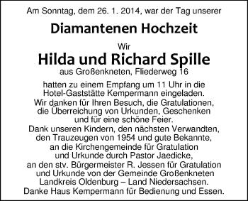 Hochzeitsanzeige von Hilda  Spille  von Nordwest-Zeitung