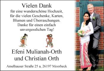 Hochzeitsanzeige von Efeni Mulianah-Orth von Nordwest-Zeitung