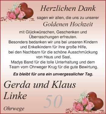 Hochzeitsanzeige von Gerda Linke von Nordwest-Zeitung
