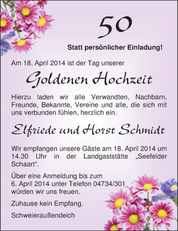 Hochzeitsanzeige von Elfriede Schmidt von Nordwest-Zeitung