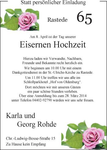 Hochzeitsanzeige von Karla Rohde von Nordwest-Zeitung