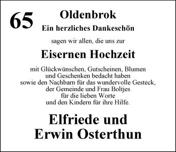 Hochzeitsanzeige von Elfriede Osterthun von Nordwest-Zeitung