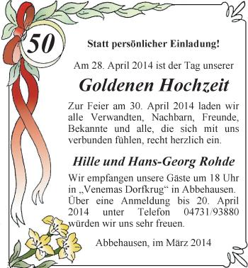 Hochzeitsanzeige von Hille Rohde von Nordwest-Zeitung