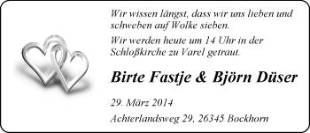 Hochzeitsanzeige von Birte Fastje von Nordwest-Zeitung