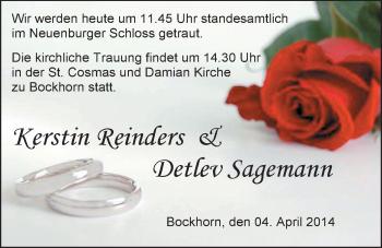 Hochzeitsanzeige von Kerstin Reinders von Nordwest-Zeitung