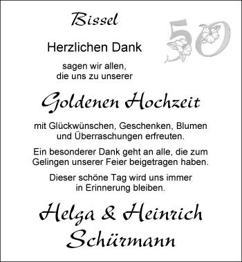 Hochzeitsanzeige von Helga Schürmann von Nordwest-Zeitung