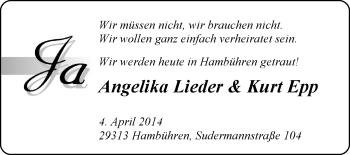 Hochzeitsanzeige von Angelika Lieder von Nordwest-Zeitung