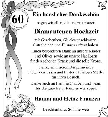 Hochzeitsanzeige von Hanna Franzen von Nordwest-Zeitung