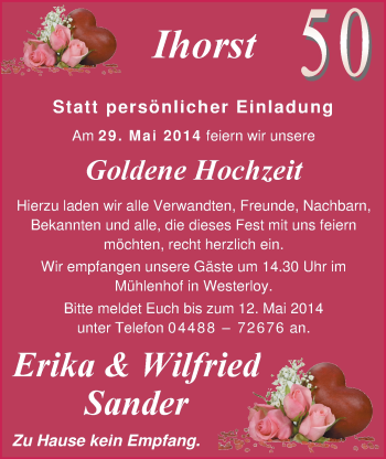 Hochzeitsanzeige von Erika Sander von Nordwest-Zeitung