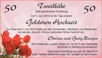 Hochzeitsanzeige von Christa Bunjes von Nordwest-Zeitung