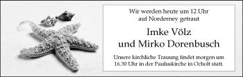 Hochzeitsanzeige von Imke Völz von Nordwest-Zeitung