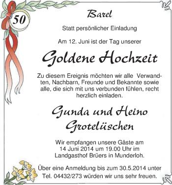 Hochzeitsanzeige von Gunda Grotelüschen von Nordwest-Zeitung