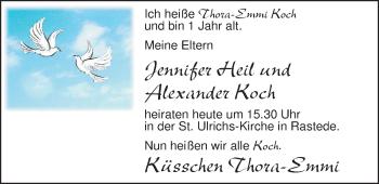Hochzeitsanzeige von Jennifer ?Heil von Nordwest-Zeitung