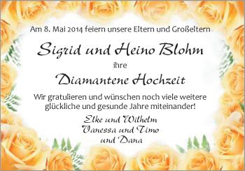 Hochzeitsanzeige von Sigrid Blohm von Nordwest-Zeitung