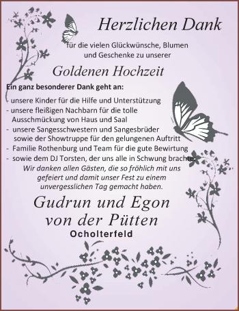 Hochzeitsanzeige von Gudrun von der Pütten von Nordwest-Zeitung