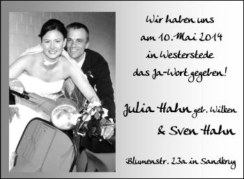 Hochzeitsanzeige von Julia Hahn von Nordwest-Zeitung