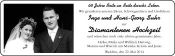Hochzeitsanzeige von Inge Suhr von Nordwest-Zeitung