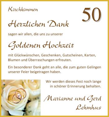 Hochzeitsanzeige von Marianne Lehmhus von Nordwest-Zeitung