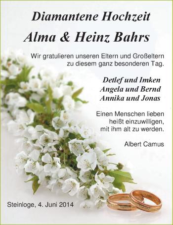 Hochzeitsanzeige von Alma Bahrs von Nordwest-Zeitung
