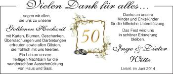 Hochzeitsanzeige von Inge Witte von Nordwest-Zeitung