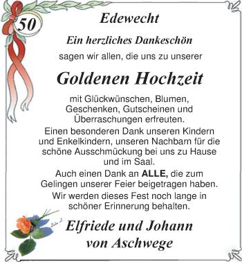 Hochzeitsanzeige von Elfriede von Aschwege von Nordwest-Zeitung
