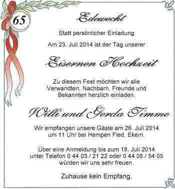 Hochzeitsanzeige von Gerda Timme von Nordwest-Zeitung