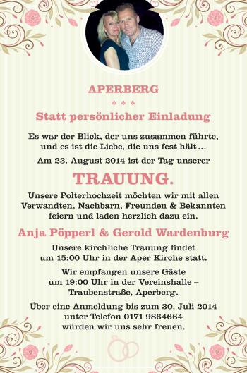 Hochzeitsanzeige von Anja Pöpperl von Nordwest-Zeitung